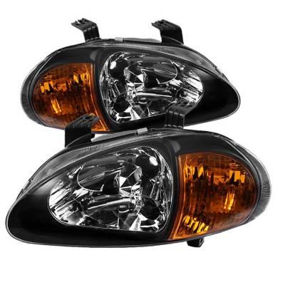 Spyder - Honda Del Sol Spyder Amber Crystal Headlights - Black - 1PC - HD-ON-HDEL93-1P-AM-BK