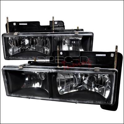 Spec-D - Chevrolet C10 Spec-D Crystal Housing Headlights - Black - LH-C1088JM-RS