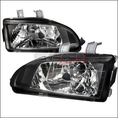 Spec-D - Honda Civic Spec-D Crystal Housing Headlights - Black - LH-CV92JM-APC