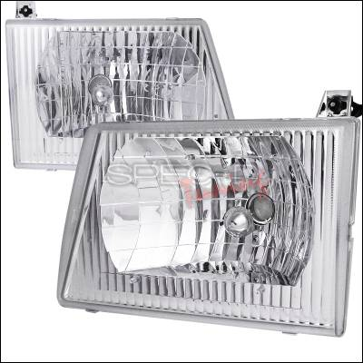 Spec-D - Ford E-Series Spec-D Euro Headlights - Chrome Housing - LH-ECON92-ABM