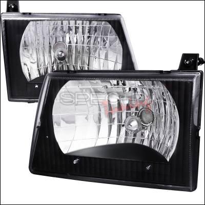 Spec-D - Ford E-Series Spec-D Euro Headlights - Black Housing - LH-ECON92JM-ABM