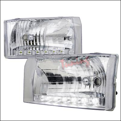 Spec-D - Ford F250 Spec-D Crystal Housing Headlights - Chrome with LED - LH-F25099-RS