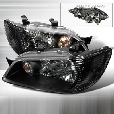 Spec-D - Mitsubishi Lancer Spec-D Crystal Housing Headlights - Black - LH-LAN02JM-KS