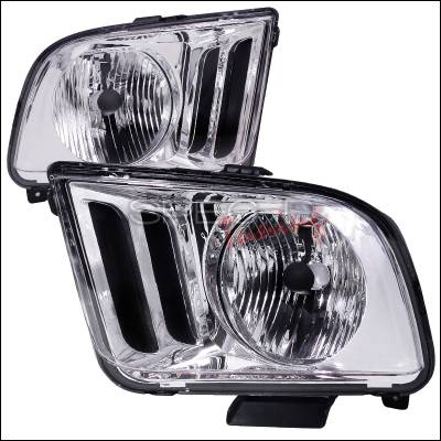 Spec-D - Ford Mustang Spec-D Euro Headlights - Chrome Housing - LH-MST05-RS