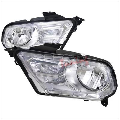 Spec-D - Ford Mustang Spec-D Euro Headlights - Chrome Housing - LH-MST10-RS