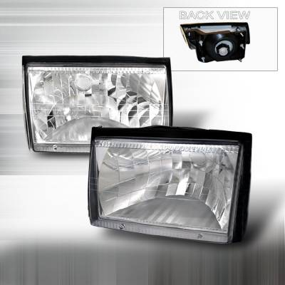 Spec-D - Ford Mustang Spec-D Crystal Housing Headlights - Chrome - LH-MST87-DP