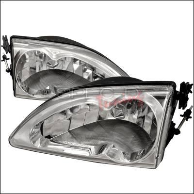 Spec-D - Ford Mustang Spec-D Crystal Housing Headlights - Chrome - LH-MST94-WJ