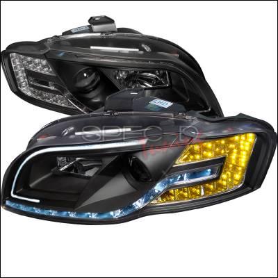 Spec-D - Audi A4 Spec-D Black Housing Projector Headlight with Daytime Running Light & Adjustable Motor - LHP-A406JM-8MR-APC