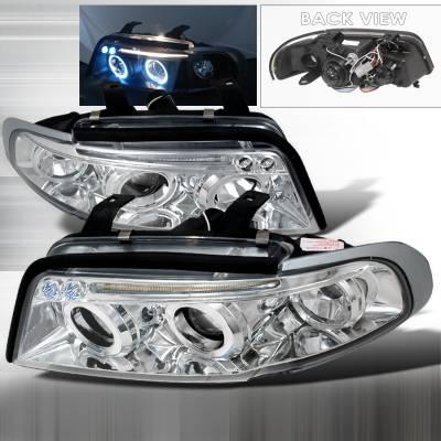 Spec-D - Audi A4 Spec-D Halo LED Projector Headlights - Chrome - LHP-A496-TM