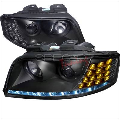 Spec-D - Audi A6 Spec-D Black Housing Projector Headlight with LED - LHP-A602JM-APC