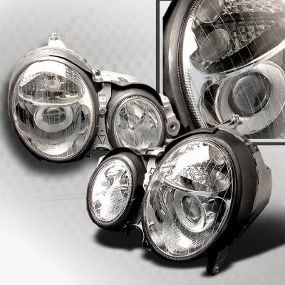 Spec-D - Mercedes-Benz E Class Spec-D Halo Projector Headlights - Chrome - LHP-BW21000-KS