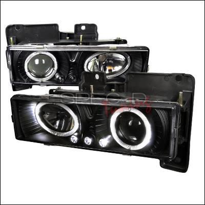 Spec-D - Chevrolet C10 Spec-D Halo Projector Headlights with LED - Black - LHP-C1088JM-RS