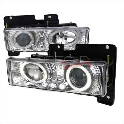 Spec-D - Chevrolet C10 Spec-D Halo Projector Headlights with LED - Chrome - LHP-C1088-RS