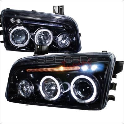 Spec-D - Dodge Charger Spec-D Projector Headlight Gloss - Black Housing - Smoke Lens - LHP-CHG05G-TM