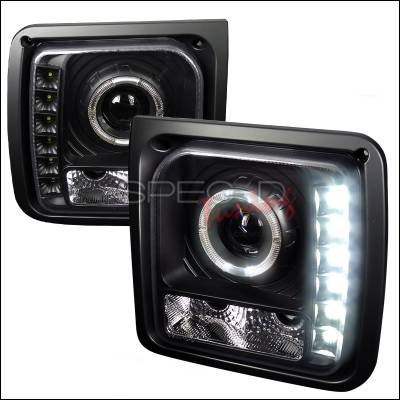 Spec-D - Jeep Cherokee Spec-D Halo Projector Headlight with LED - Black - LHP-CHKE97JM-RS