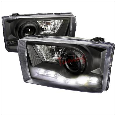 Spec-D - Ford F250 Spec-D R8 Style LED Projector Headlights - Black - LHP-F25099JM-RS