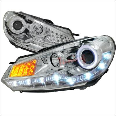 Spec-D - Volkswagen Golf Spec-D R8 Style Projector Headlight - Chrome Housing with LED Signal - LHP-GLF10-8V2-TM