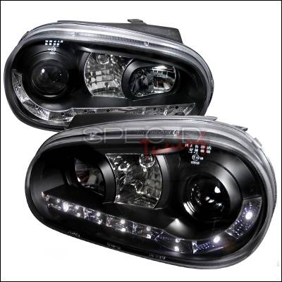 Spec-D - Volkswagen Golf Spec-D R8 Style Halo LED Projector - Black - LHP-GLF99JM-8-TM
