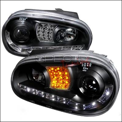Spec-D - Volkswagen Golf Spec-D R8 Style Halo LED Projector with LED Signal - Black - LHP-GLF99JM-8V2-TM