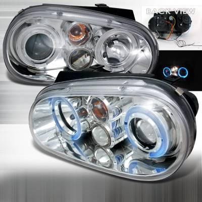 Spec-D - Volkswagen Golf Spec-D Halo LED Projector Headlights - Chrome - LHP-GLF99-TM