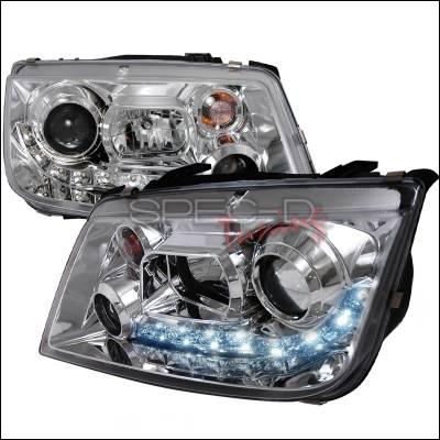 Spec-D - Volkswagen Jetta Spec-D R8 Style Halo LED Projector - Chrome - LHP-JET99-8-TM