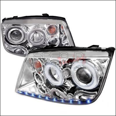 Spec-D - Volkswagen Jetta Spec-D LED Stripe Dual Halo Projector Headlights - Chrome - LHP-JET99-APC