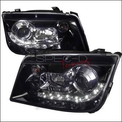 Spec-D - Volkswagen Jetta Spec-D R8 Style Smoked Lens Gloss - Black Housing Projector Headlights - LHP-JET99G-8-TM