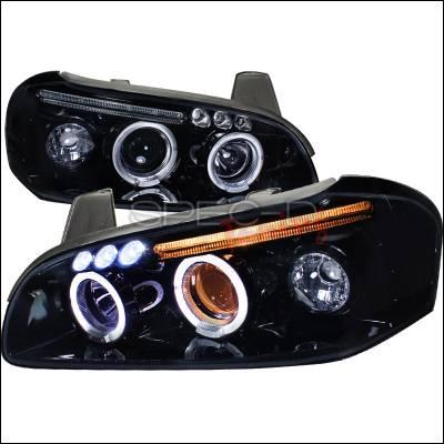 Spec-D - Nissan Maxima Spec-D Projector Headlight Gloss - Black Housing - Smoke Lens - LHP-MAX00G-TM