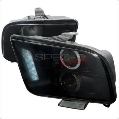 Spec-D - Ford Mustang Spec-D Halo LED Projector - Smoke - LHP-MST05G-TM