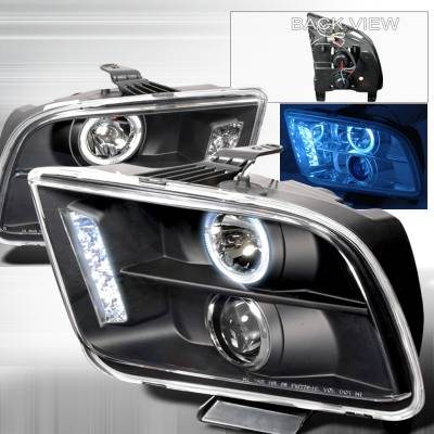 Spec-D - Ford Mustang Spec-D Halo LED Projector Headlights - Black - LHP-MST05JM-TM