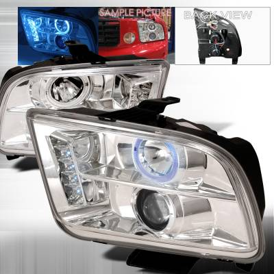 Spec-D - Ford Mustang Spec-D Halo LED Projector Headlights - Chrome - LHP-MST05-TM