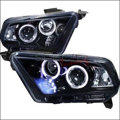Spec-D - Ford Mustang Spec-D Projector Headlight Gloss - Black Housing - Smoke Lens - LHP-MST10G-TM