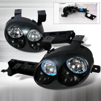 Spec-D - Dodge Neon Spec-D Ralli-Style Halo Projector - Black Paintable Housing - LHP-NEO95JMBH