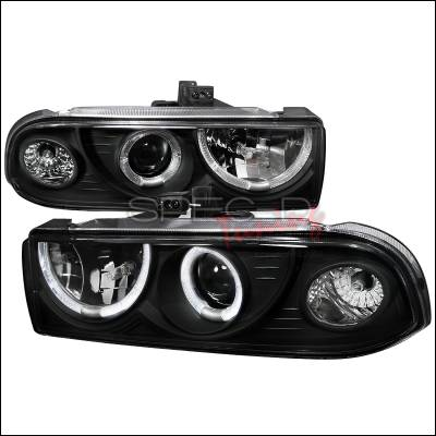 Spec-D - Chevrolet S10 Spec-D Dual Halo Projector Headlights - Black - LHP-S1098JM-WJ