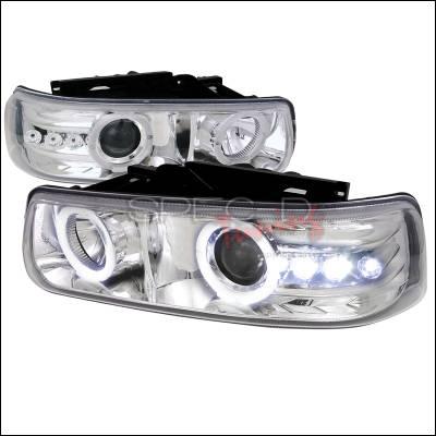 Spec-D - Chevrolet Silverado Spec-D Projector Headlights - Chrome Housing - LHP-SIV99-RS