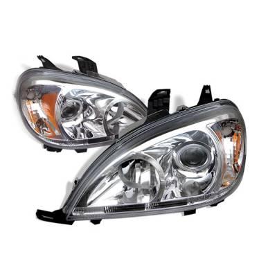Spyder - Mercedes-Benz ML Spyder Amber Projector Headlights - Chrome - PRO-CL-MBW16398-AM-C