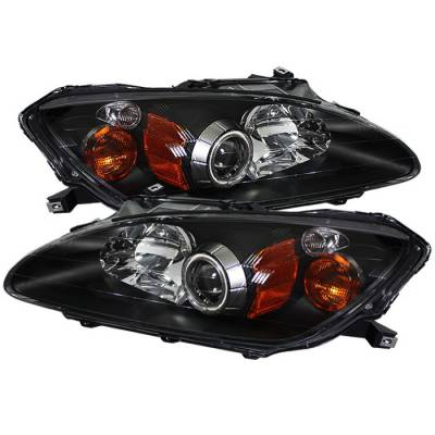 Spyder Auto - Honda S2000 Spyder CCFL Amber Headlights - Black - PRO-ON-HS2K00-CCFL-AM-BK