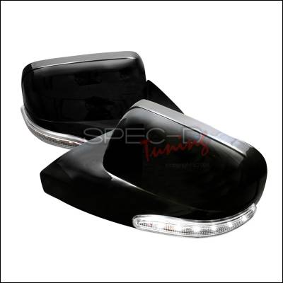 Spec-D - Ford Mustang Spec-D Side Mirror Cover - Black with White LED - RMC-MST05BK-WLED