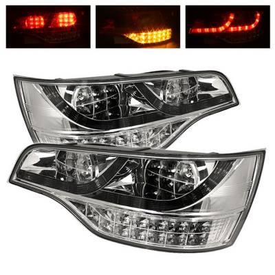 Spyder. - Audi Q7 Spyder LED Taillights - Chrome - 111-AQ707-LED-C