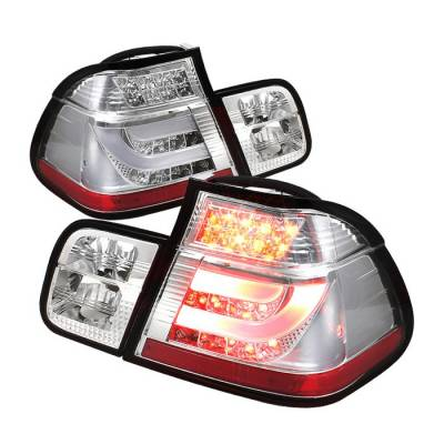 Spyder - BMW 3 Series 4DR Spyder Light Bar Style LED Taillights - Chrome - 111-BE4699-4D-LBLED-C