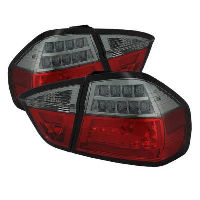 Spyder - BMW 3 Series 4DR Spyder LED Indicator Light Bar LED Taillights - Red Smoke - 111-BE9006-LBLED-G2-RS