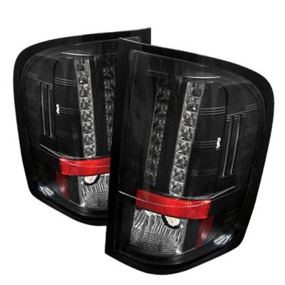 Spyder - Chevrolet Silverado Spyder LED Taillights - Black - 111-CS07-LED-BK