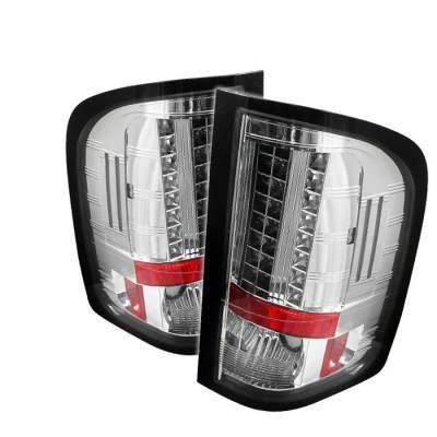 Spyder - Chevrolet Silverado Spyder LED Taillights - Chrome - 111-CS07-LED-C
