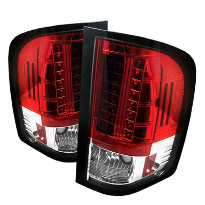 Spyder - Chevrolet Silverado Spyder LED Taillights - Red Clear - 111-CS07-LED-RC