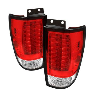 Spyder - Ford Expedition Spyder Version 2 LED Taillights - Red Clear - 111-FE97-LED-G2-RC