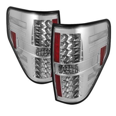 Spyder - Ford F150 Spyder LED Taillights - Chrome - 111-FF15009-LED-C