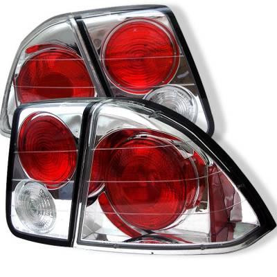 Spyder - Honda Civic 4DR Spyder Euro Style Taillights - Chrome - 111-HC01-4D-C