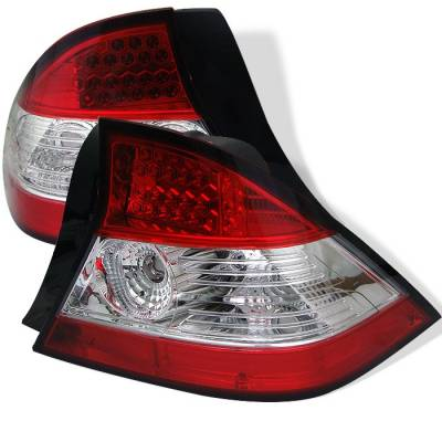 Spyder - Honda Civic 2DR Spyder LED Taillights - Red Clear - 111-HC04-2D-LED-RC