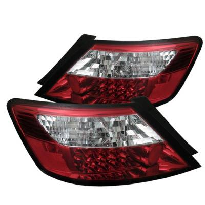 Spyder - Honda Civic 2DR Spyder LED Taillights - Red Clear - 111-HC06-2D-LED-RC