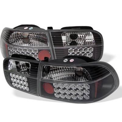 Spyder - Honda Civic 2DR & 4DR Spyder LED Taillights - Black - 111-HC92-24D-LED-BK
